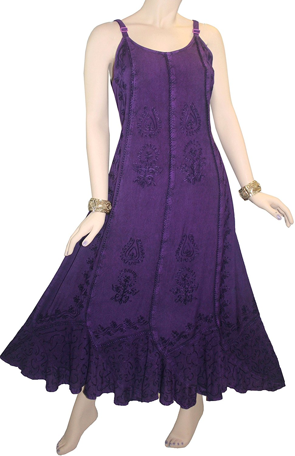 Rayon Embroidered Scalloped Hem Gypsy Spaghetti Strap Dress - Agan Traders, Purple