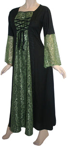 Net Medieval Vampire Gothic Renaissance Dress Gown - Agan Traders, Green Black