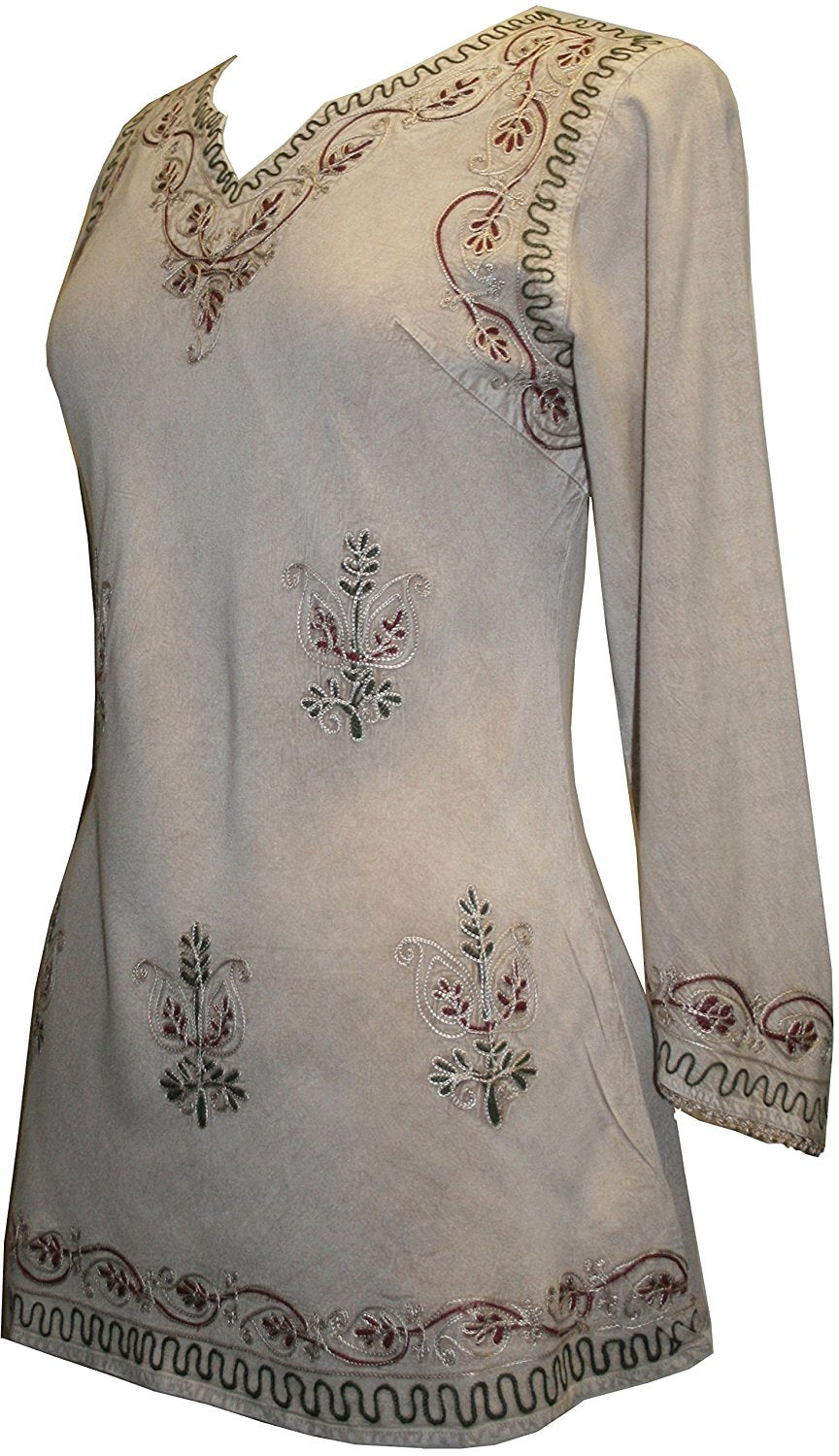 Embroidered Rayon Renaissance Blouse - Agan Traders, Beige