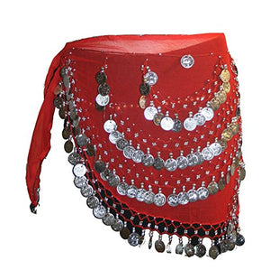 ST Agan Traders Belly Dancing Zumba Hip Coin Gypsy Hip Scarf - Agan Traders,  Red CR