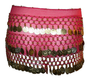 ST Agan Traders Belly Dancing Zumba Hip Coin Gypsy Hip Scarf - Agan Traders, Pink Gold ST