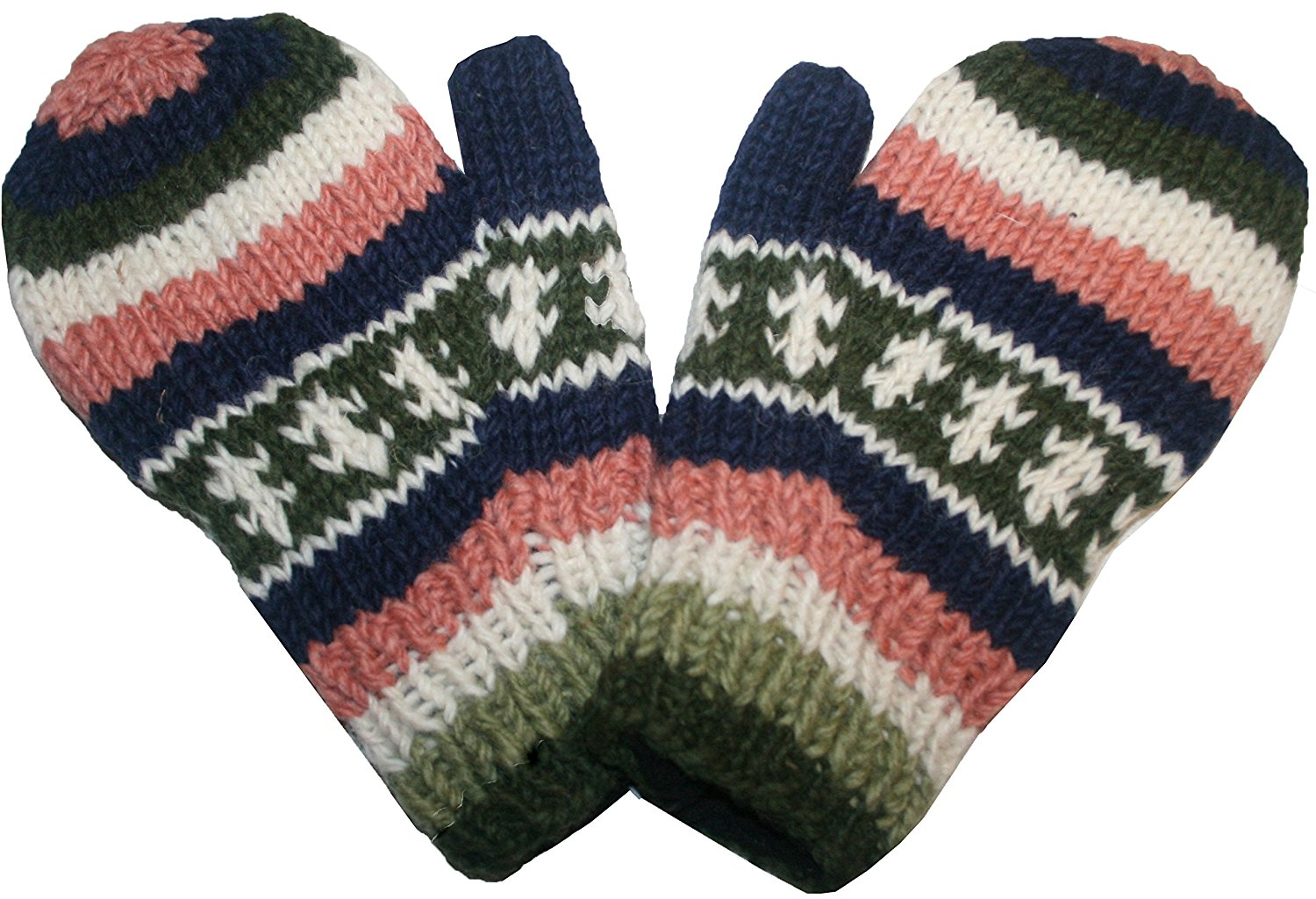 Ski Winter Lined Wool Mitten - Agan Traders, Olive Blue