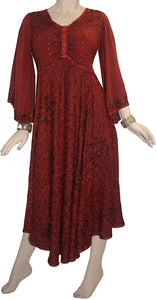 V Neck Embroidered Butterfly Bell Sleeve Flare Mid Calf Dress - Agan Traders, Burgundy
