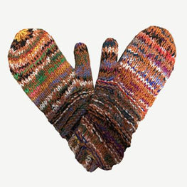 Multi-colored Knit Blended Wool Mismatched 'Folding' Mitten Gloves - Agan Traders, 1417MT 2