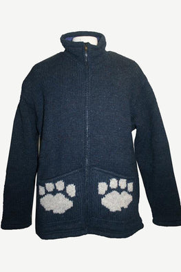 910 Himalayan Lamb's Wool Hand Knitted Fleece Lined Paw Sherpa Jacket