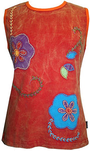 R 113 Rib Cotton Patch Floral Embroidered Sleeveless Tee Shirt - Agan Traders, Red Burgundy