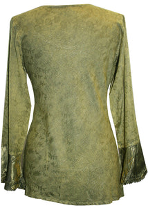 Gypsy Renaissance Victorian Asymmetrical Hem Top Blouse - Agan Traders, Lime
