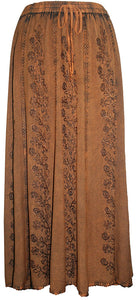 712 SK Agan Traders Medieval Embroidered Long Skirt - Agan Traders, Rust