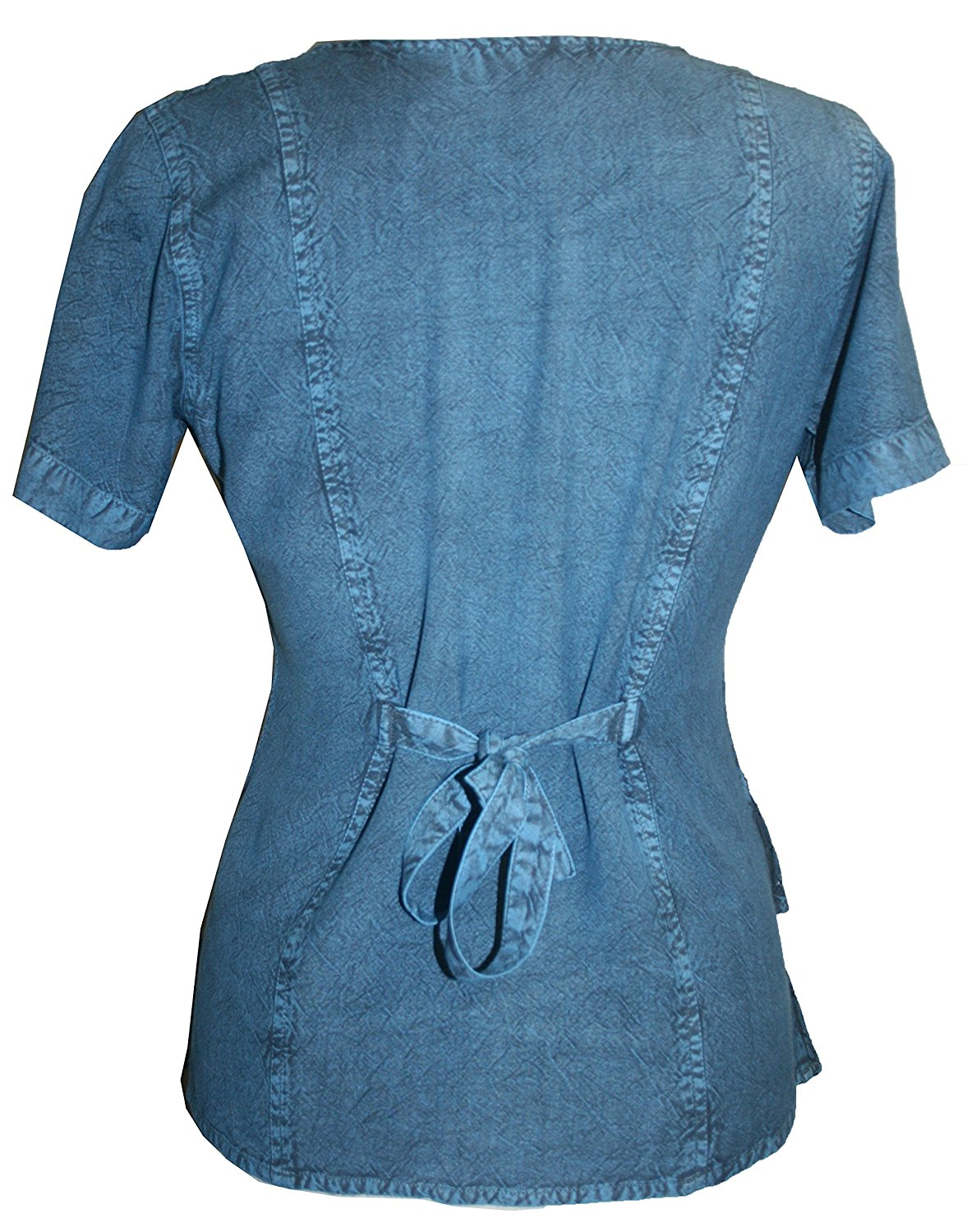 Medieval Renaissance Gypsy Ruffle Cross Blouse - Agan Traders, Blue