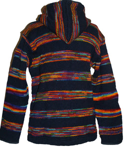 Lambs Wool Fleece Winter Sherpa Hoodie Sweater Jacket - Agan Traders, Blue Multi