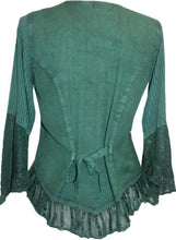 Embroidered Netted Ruffle Sleeve Blouse - Agan Traders, Hunter Green