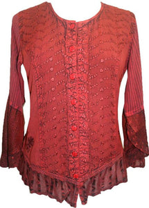 Embroidered Netted Ruffle Sleeve Blouse - Agan Traders, Red