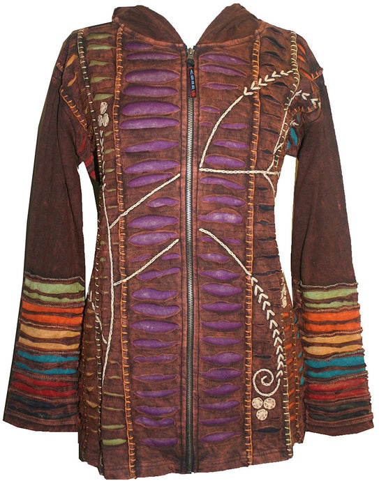 RJ 51 Agan Traders Bohemian Nepal Hoodie Gypsy Knit Cotton Patch Rib Jacket - Agan Traders, Brown Purple