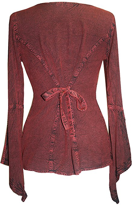 Renaissance Gypsy Bell Sleeve Blouse Top - Agan Traders, Wine