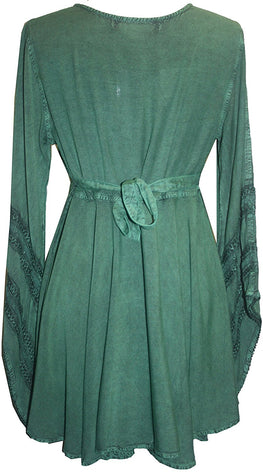 Gypsy Medieval Stylish Bohemian Sexy Flare Corset Tunic - Agan Traders, Green
