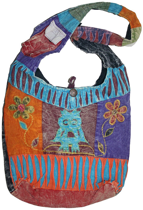 JSA 02 Owl Patch Cotton Boho Cross Shoulder Bag Purse - Agan Traders, Multi 1