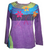 Rib Cotton Funky Razor Patches Long Sleeve Top Blouse - Agan Traders, Purple