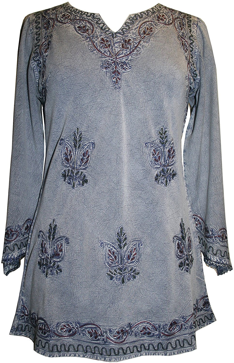 Embroidered Rayon Renaissance Blouse - Agan Traders, Lilac