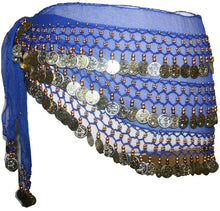 ST Agan Traders Belly Dancing Zumba Hip Coin Gypsy Hip Scarf - Agan Traders, Blue Gold ST
