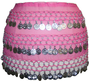ST Agan Traders Belly Dancing Zumba Hip Coin Gypsy Hip Scarf - Agan Traders, Pink Silver ST