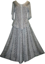 712 SK Agan Traders Medieval Embroidered Long Skirt - Agan Traders, Silver Gray