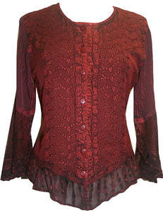 Embroidered Netted Ruffle Sleeve Blouse - Agan Traders, Wine Burgundy