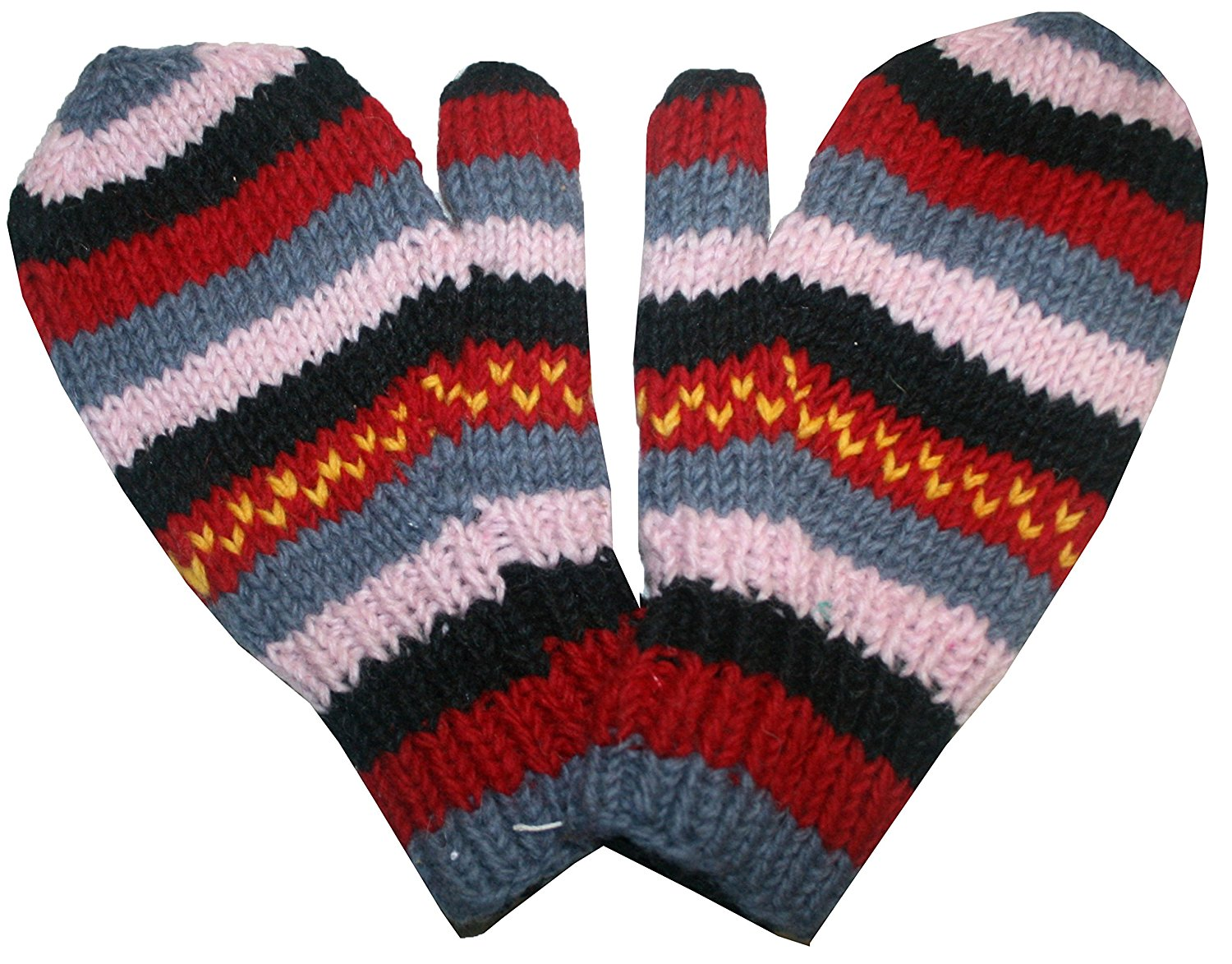 Ski Winter Lined Wool Mitten - Agan Traders, Red Gray