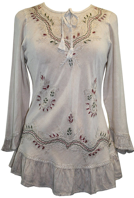 147 B Gypsy Medieval Ruffle Top Tunic Kurta Blouse India - Agan Traders, Beige C
