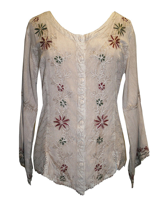 Flower Embroidered Blouse - Agan Traders, Beige