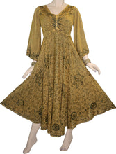 V Neck Embroidered Butterfly Bell Sleeve Flare Mid Calf Dress - Agan Traders, Sand