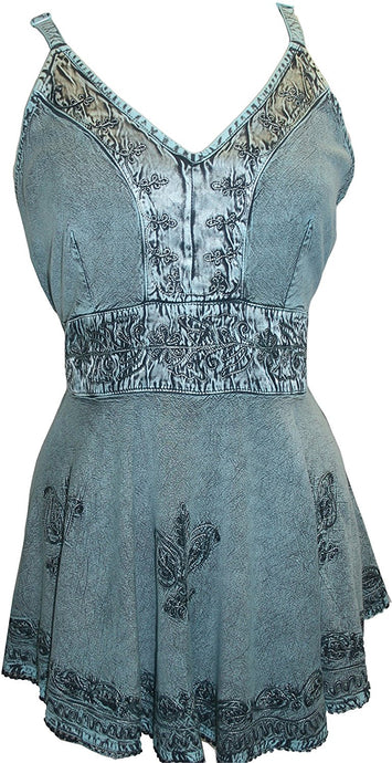 Medieval Gypsy Embroidered Spaghetti Strap Tank Top - Agan Traders