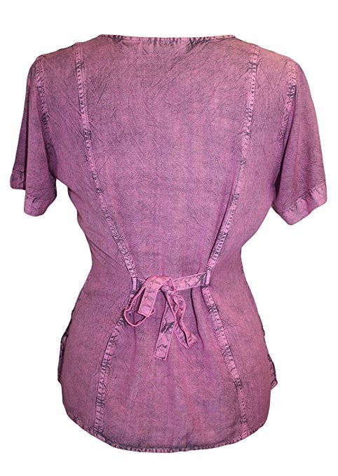 Medieval Renaissance Gypsy Ruffle Cross Blouse - Agan Traders, Plum