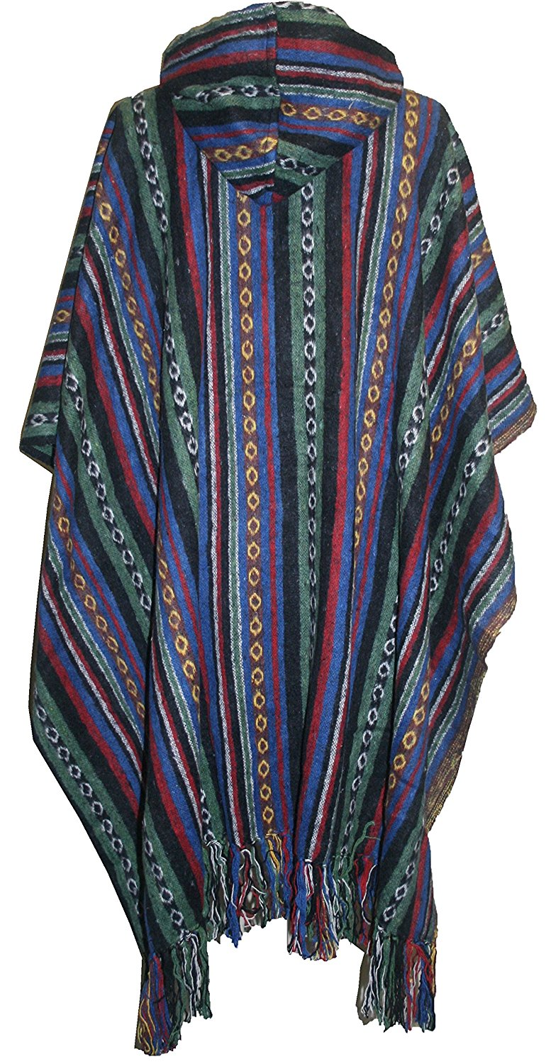 One Size Hooded Thick Heavy Duty Cotton Stripe Cape Poncho - Agan Traders, Green Multi