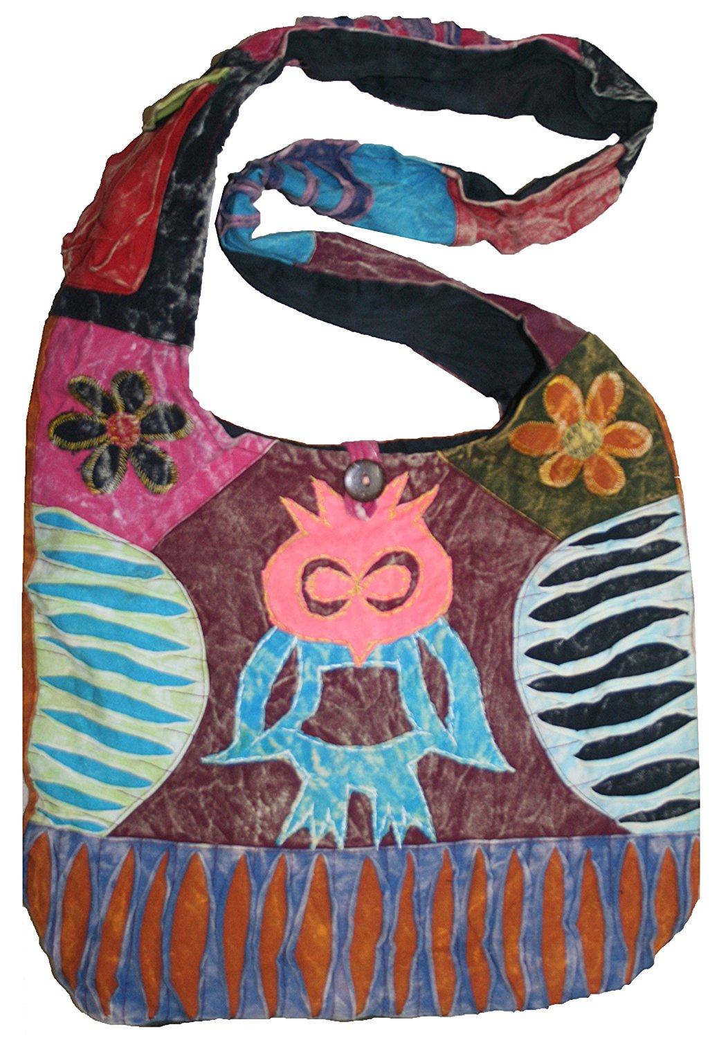 JSA 02 Owl Patch Cotton Boho Cross Shoulder Bag Purse - Agan Traders, Multi 6