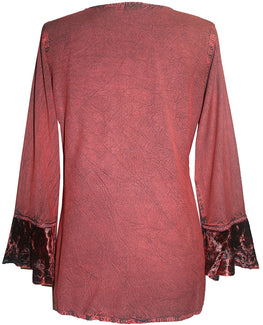 Gypsy Vintage Embroidered Elegant Rayon Velvet Tunic Top Blouse - Agan Traders, Burgundy