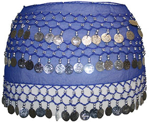 ST Agan Traders Belly Dancing Zumba Hip Coin Gypsy Hip Scarf - Agan Traders, Blue Silver ST