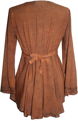 Medieval Embroidered Flare Tunic Top Blouse - Agan Traders, Rust