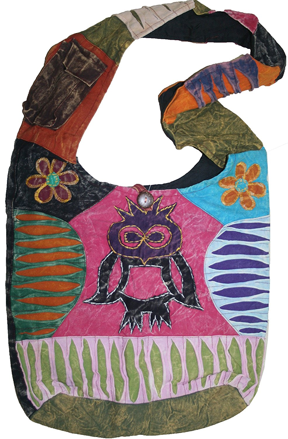 JSA 02 Owl Patch Cotton Boho Cross Shoulder Bag Purse - Agan Traders, Multi 4