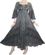 106 DR Renaissance Victorian Embroidered Flaire Hem Corset Dress Gown - Agan Traders, Silver