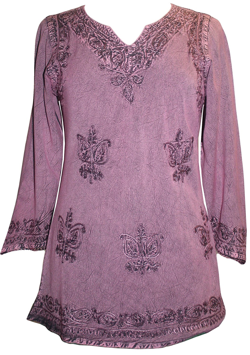 127 B Diamond Neck Embroidered Rayon Renaissance Tunic Blouse - Agan Traders, Plum