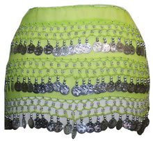 ST Agan Traders Belly Dancing Zumba Hip Coin Gypsy Hip Scarf - Agan Traders, Lime Silver ST