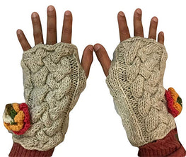 Knitted Hand Warmer Fingerless Mitten - Agan Traders, Beige 330