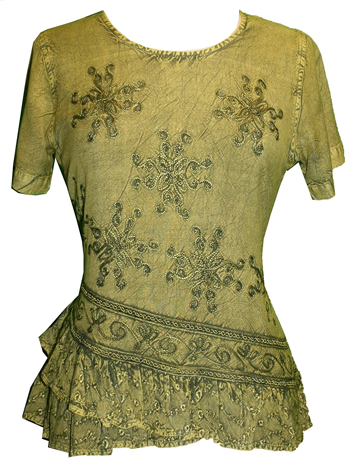 Medieval Renaissance Gypsy Ruffle Cross Blouse - Agan Traders, Lime Green