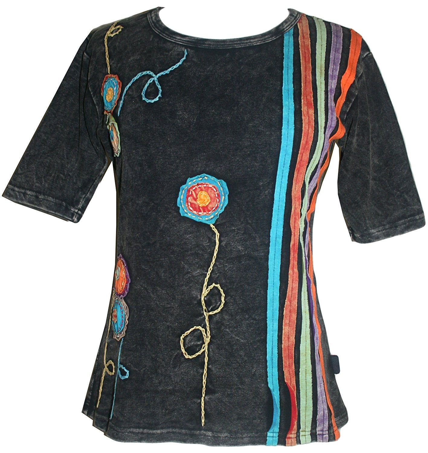 R 015 Agan Traders Knit Cotton stripe flower Boho Gypsy Top Blouse - Agan Traders, Black