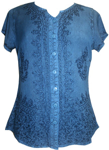Medieval Bohemian Embroidered Top Shirt Blouse - Agan Traders, Blue