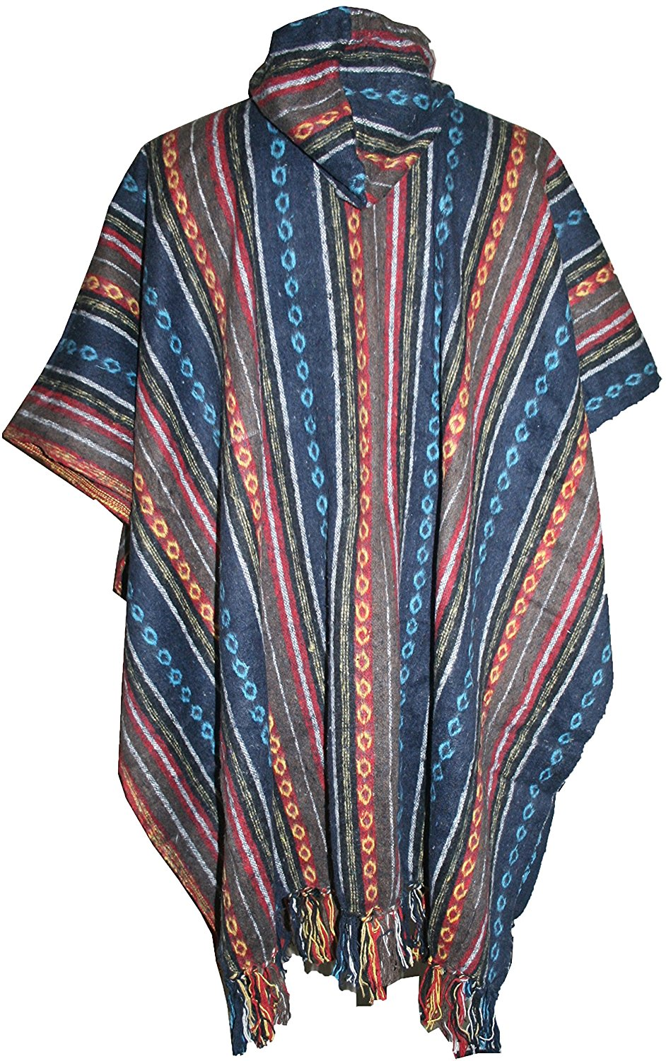 One Size Hooded Thick Heavy Duty Cotton Stripe Cape Poncho - Agan Traders, Blue Multi