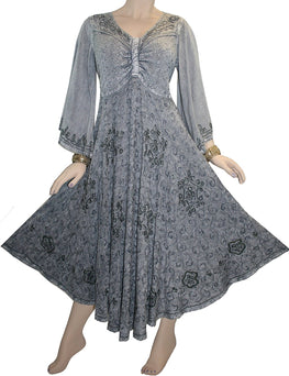 V Neck Embroidered Butterfly Bell Sleeve Flare Mid Calf Dress - Agan Traders, Silver