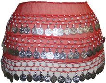 ST Agan Traders Belly Dancing Zumba Hip Coin Gypsy Hip Scarf - Agan Traders, Red Silver ST