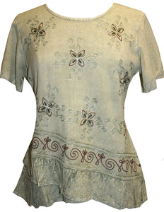 Medieval Renaissance Gypsy Ruffle Cross Blouse - Agan Traders, Sea Green C