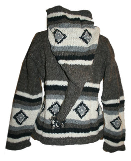 WJ 14 Agan Traders Wool Fleece Lined Cardigan Sweater With Elf Hood - Agan Traders, Gray White